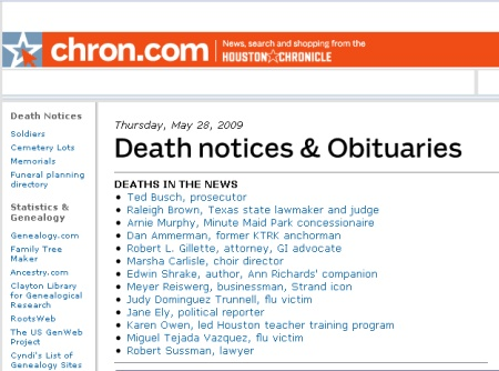 Ted Bush has died twice, according to Chron.com